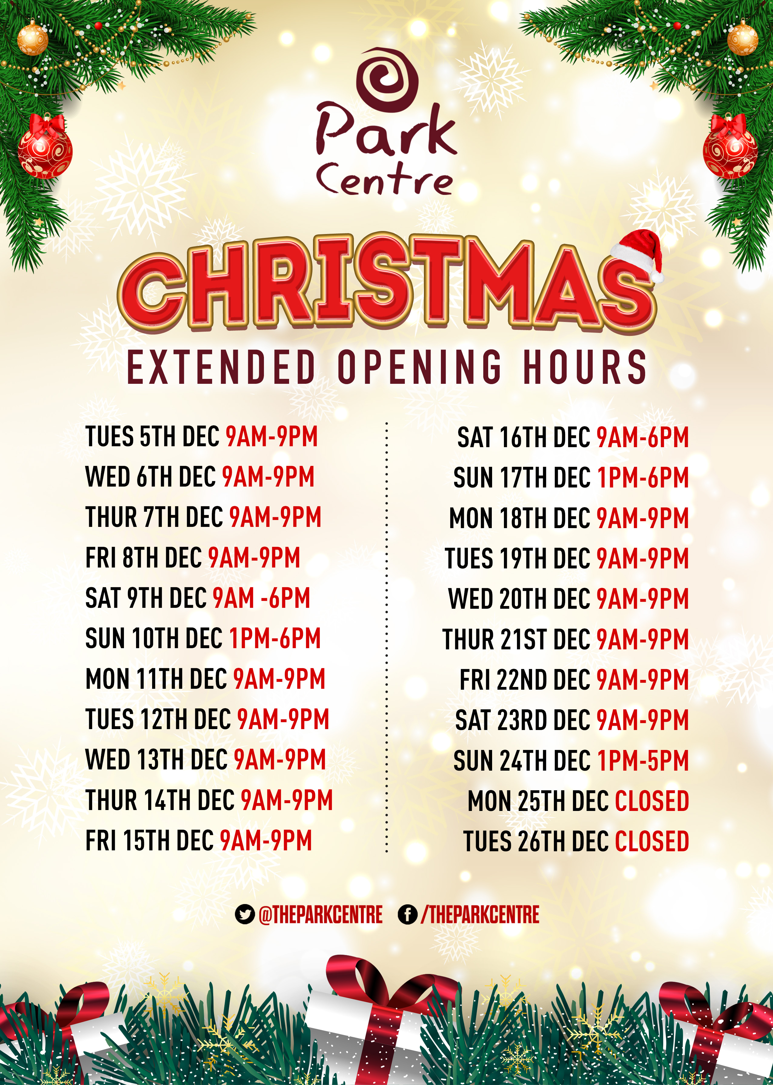 Christmas Hours.Christmas Opening Hours Park Centre